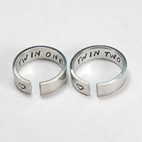 Twin One, Twin Two Sister Ring Set, Twin Sisters Matching Pair Rings, Sisters, Best friends, BFF Friendship Ring, Stamped Aluminum