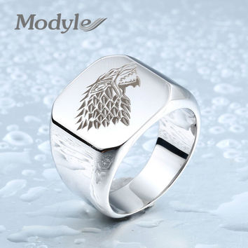Modyle Fashion Stainless Steel Ring Ice Wolf Animal Ring Fashion Jewelry