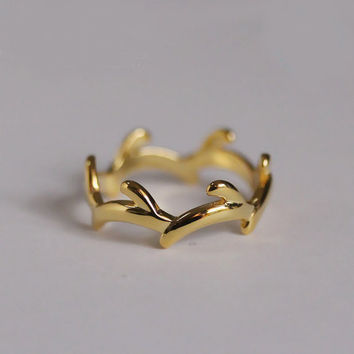 18K Gold Plated Tree Branch Ring, Sterling Silver Twig Ring, Silver Branch Ring,Twig Engagement Ring,silver Branch jewelry,gift for her