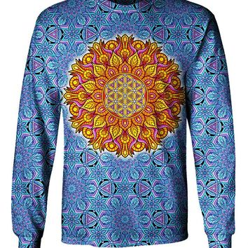 Flower OF Life Sacred Geometry Mandala Long Sleeve