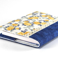 Fabric Journal Cover - Yellow Roses, Blue Aqua - Fabric Cover A6 Notebook, Diary - Yellow, Blue, White Flowers, Blue Water, Vintage Lace