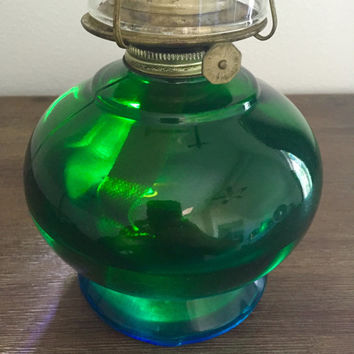 Blue-Green Oil lamp; Kerosene Lamp; Hurricane Lamp; Vintage Oil Lamp; Glass Lamp