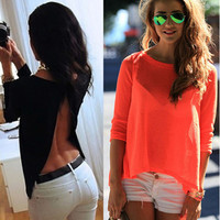 Solid Color Backless Blouse