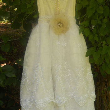 Lace wedding dress tiered prom fairytale rose by vintageopulence
