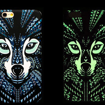 So Cool Night King Wild Dogs Animal Handmade Carving Luminous Light Up iPhone creative cases for 5S 6 6S Plus