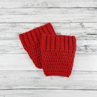 Womens Boot Socks, Crochet Boot Cuffs, Winter Boot Cuffs, Vegan Boot Cuffs, Womens Knit Socks, Boot Toppers, RED, Knit Boot Sleeves