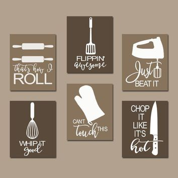 KITCHEN QUOTE Wall Art, Funny Utensil Wall Decor, CANVAS or Prints Just Beat It, How I Roll, Dining Room Decor, Set of 6 Choose Your Colors