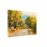 Green Leaves Path Painting Wrapped Canvas