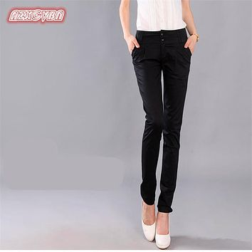 Trousers With Pockets Women 2017 Autumn Casual OL Formal Pants Women Elegant Office Straight Work Wear Full Length Pant ss004