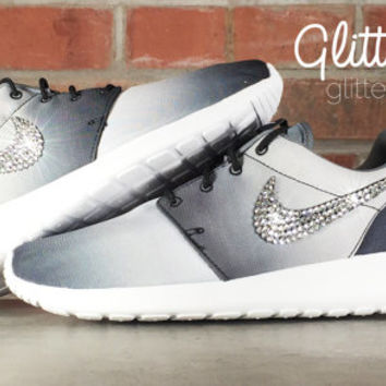 Glitter Kicks Nike Roshe Runs With Swarovski Crystal Rhinestones Black/White Ombre - Nike Shoes, Roshes - Glitter Kicks - Shoes
