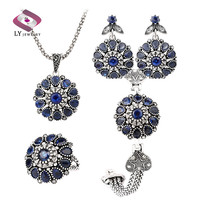 Sapphire 4 Pcs Jewelry Sets Silver Plating Round Vintage Flower Crystal Ring Earring Bracelet And Pendant Necklace Set