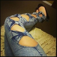 Vintage Detailed Womans Side Bow Cutout Ripped Denim Sexy Jeans Jeggings M or L