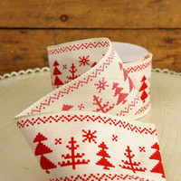 Fair Isle Tree Print Ribbon 2.5in x 24ft