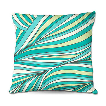 Zen Throw Pillow in Palm Frond Art Pattern in Lime-Green, Turquoise and Aqua – 3 Sizes Available