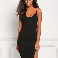 Black Side Slit Sleek Bodycon Dress