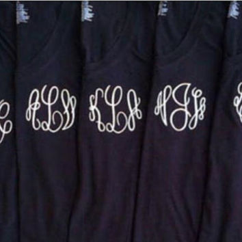 SALE-Custom monogrammed vneck in the shirt color, thread color and font of your choice. Great for bridesmaids, game day and gifts