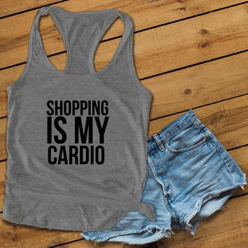 Shopping is my cardio Women's Ideal Racerback Tank