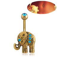 Gold Plated Elephant Rhinestone Navel Belly Button Ring
