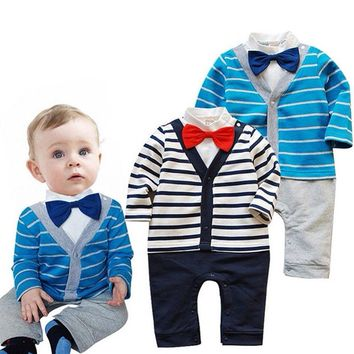 Infant Baby Clothes Gentleman style Clothing Kids Boys Striped Rompers Outwear Size 6-24M