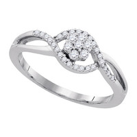 Diamond Fashion Ring in 10k White Gold 0.26 ctw