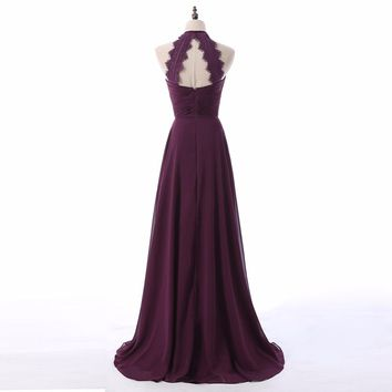 Purple Halter Chiffon A Line Long Evening Dresses Sleeveless Open Back Lace Floor Length Evening Dress