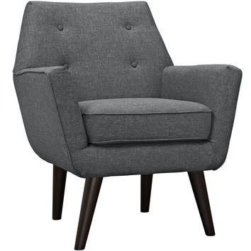 Modway Posit Armchair in Tufted Gray Fabric on Espresso Finish Legs