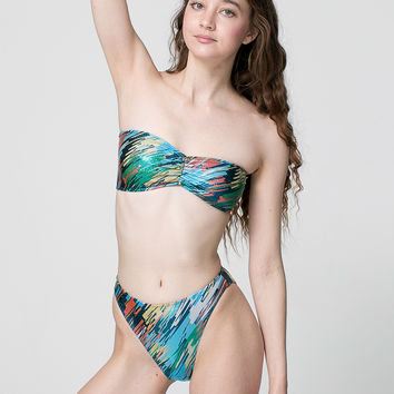 Brush Printed Shiny High Rise Bikini Bottom
