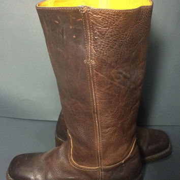 FRYE 77046 Campus 14 G Brown Leather Motorcycle Riding Boots Women's Size 10