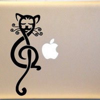 Tribal Musical Treble Clef Cat Vinyl Decal for Mac PC Laptop or Window | MakeItMineDesigns - Techcraft on ArtFire