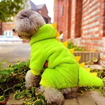 Cute Golden and Yellow Dinosaur Clothes,Dogs Cats Winter Coral Fleece Warm Pet Clothing,Four Feet Clothes Chihuahua Puppy Winter Clothing