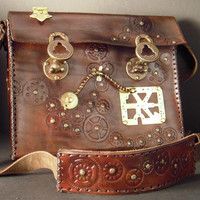 Steampunk leather laptop case II by IsilWorkshop on Etsy