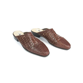 90s Brown Leather Mules Slip On Slides Braided Woven Leather Slides Slip On Shoes Leather Backless Clogs Low Heels Pointy Toe Flats Size 10