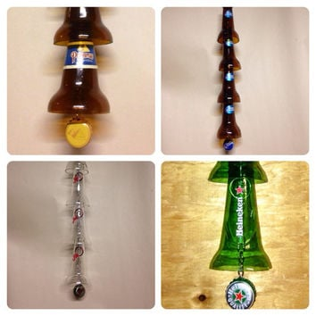 Beer Bottle Wind Chime. Recycled Glass Bottles. Outdoor Decor.