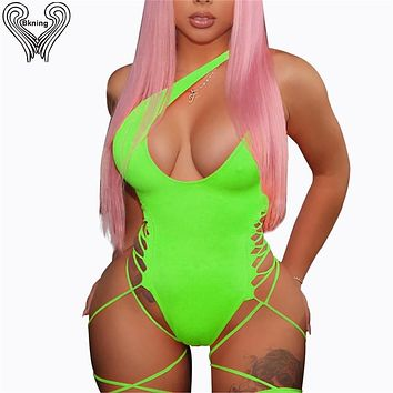 Lace Up Side Garter Neon Swimsuit Tanga One Shoulder Bathing Suits 2019 Female Swimming Suit For Women Bather One Piece Monokini