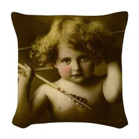 CUPID AWAKE WOVEN THROW PILLOW