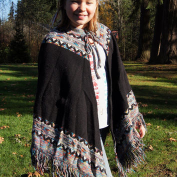 1970's Space Dyed Aztec Native Print Poncho