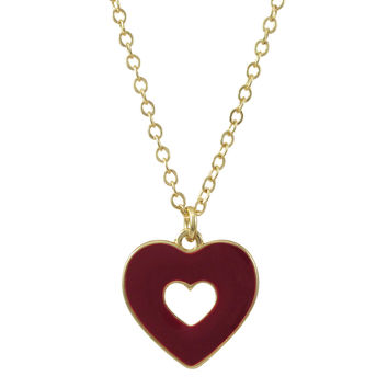 Burgundy Enamel Double Sided Open Heart Pendant On Gold Plated Brass Chain Necklace