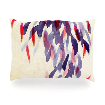 "Iris Lehnhardt ""Abstract Leaves IV"" Tan Purple Oblong Pillow"