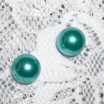 Teal Pearl 10mm Ball Stud Post Back Fashion Earrings