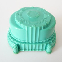 Turquoise Vintage Ring Box Art Deco Celluloid Ring Holder Display Box