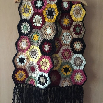 ON SALE - 10% OFF Granny square crochet scarf....Handmade fashion accessory...