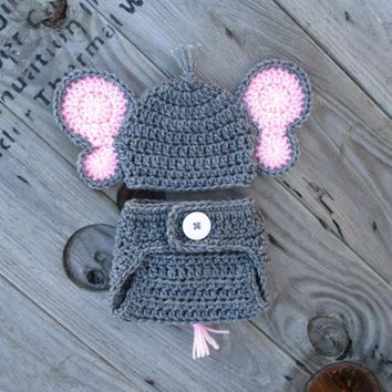 Heather Grey Baby Girl Elephant Outfit Newborn Photo Prop