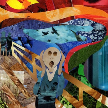 The Scream wall art, Mixed Media Collage Art, Bohemian Decor, Edvard Munch, Giclee print