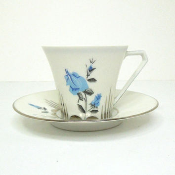"Vintage Limoges France ""Unique"" demitasse mini tea cup espresso cup and saucer - Art deco blue and silver rose flowers and silver trim"