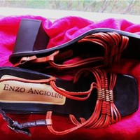 ENZO ANGIOLINI SHOES ORANGE LEATHER STRINGS SLINBACKS !S8B/38.5 !MADE IN ITALY