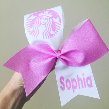 Personalized Pink Glitter Starbucks Tic toc cheer bow