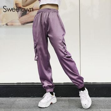 Sweetown Womens Joggers Sweatpants Purple Korean Style Trousers Women Casual High Waist Plus Size Satin Harajuku Pants Women