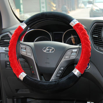Hot Deal Car Acessory On Sale Cotton Flocking Steer Wheel Cover = 4860645508