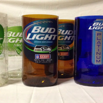Bud Light Beer Bottle Tumbler Drinking Glass Set. Recycled Glass Bottles. Man Cave.