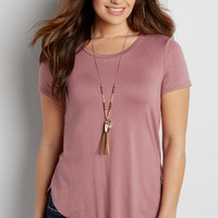 the 24/7 high-low hem tee with high neckline in misty peach | maurices